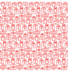 present seamless pattern in thin line style vector image