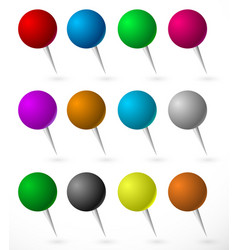 Push pin thumbtack set with sphere heads several vector