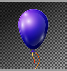 realistic blue-purple balloon with ribbon isolated vector image