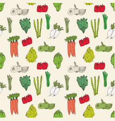 seamless pattern with hand drawn vegetables vector image