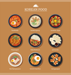 set korean food flat design asia street food vector image