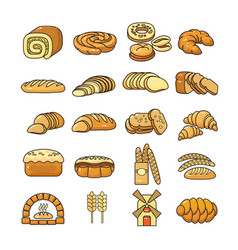 Set of colorful bakery icon isolated o vector