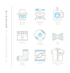 set of hipster icons and concepts in mono thin vector image