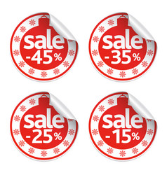 Set of new year stickers sale vector