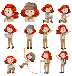 Set red hair girl in safari outfit doing vector