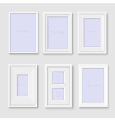 set white photo frames on wall vector image