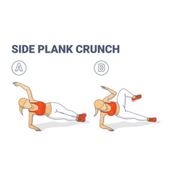 Side plank crunch home workout exercise girl vector