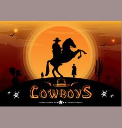 Silhouette cowboys on horseback vector