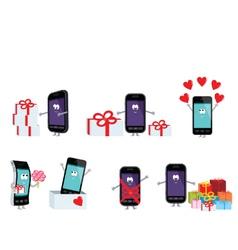 Smartphones in a gift vector