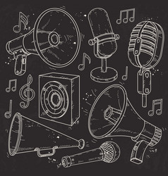 speaker horn microphone and speaker surrounded vector image