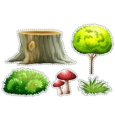 Sticker set of nature with tree and bush vector image
