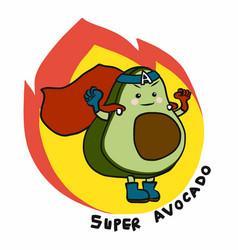 super avocado hero on fire cartoon logo vector image