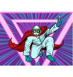 Superhero doctor man with a vaccine medicine in vector