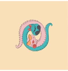 Symbol yin yang with snake vector