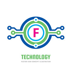 Technology letter f - logo template concept vector