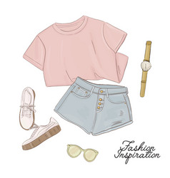 Tee shorts sneakers sunglasses and watches vector