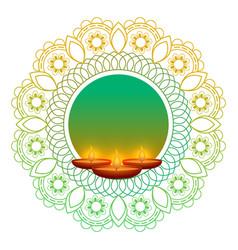 Traditional happy diwali diya lamps background vector