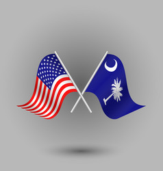 Two crossed american and flag of south carolina vector