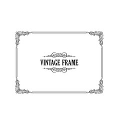 Vintage calligraphic frame black and white vector