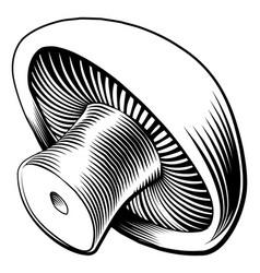 vintage retro woodcut mushroom vector image