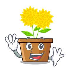 waving dahlia flower isolated in the cartoon vector image