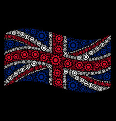 waving great britain flag pattern of cogwheel vector image