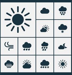 weather icons set with heavy rain crescent vector image