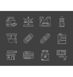 Web drugstore white flat line icons vector image
