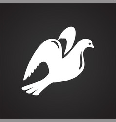 wedding dove icon on black background for graphic vector image