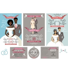 Wedding invitations setDifferent bride and groom vector