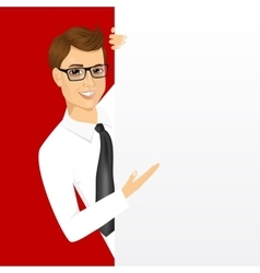 young man with a blank presentation board vector image