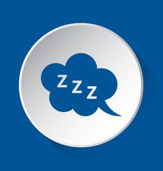 Zzz speech bubble - simple blue icon white button vector