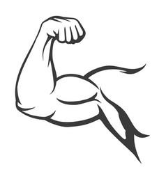 Bodybuilder muscle flex arm vector