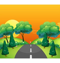 Countryside scene with road at sunset vector image