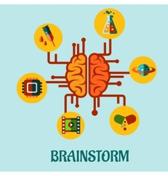 Creative brainstorming flat concept design vector image vector image