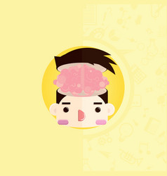 head with normal brain vector image
