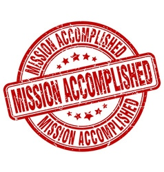 mission accomplished red grunge round vintage vector image