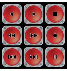 red navigation buttons for multimedia vector image