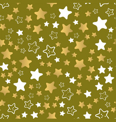 shiny stars style seamless pattern pentagonal gold vector image vector image