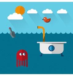 Submarine tub vector image vector image