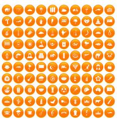 100 exotic animals icons set orange vector