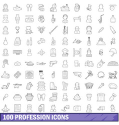 100 profession icons set outline style vector image
