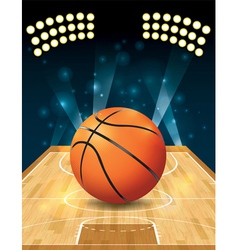 Basketball on hardwood court vector image vector image