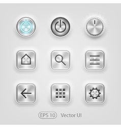 Brushed metal UI vector image vector image