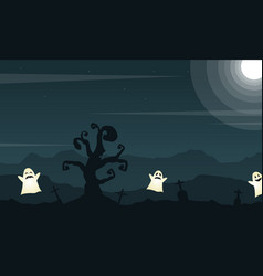 halloween background with grave and cute ghost vector image