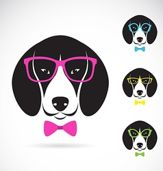 Images of dog beagle wearing glasses vector
