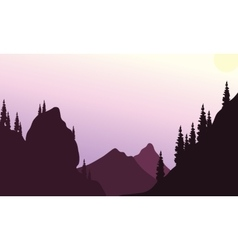 Silhouette of hills with purple backgrounds vector image
