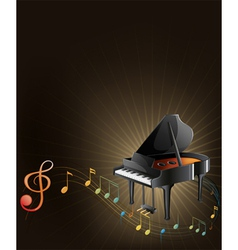 A gray piano with musical notes vector image