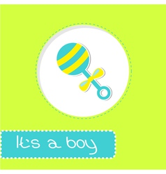 Baby boy rattle Shower card vector image vector image