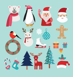 christmas set with santa claus snowman reindeer vector image